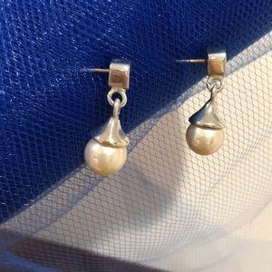 Sterling Pearl Earrings w/14k Gold Posts